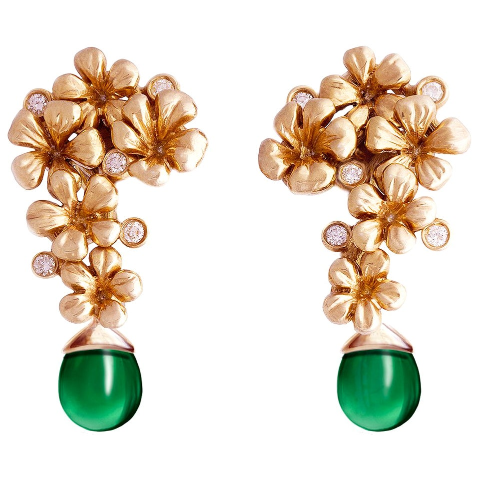 18 Karat Rose Gold Plum Blossom Earrings with Diamonds by the Artist