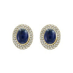 AGL Certified  Natural Ceylon Sapphire  Cabochon  Stud/Clip  Earring 18 K Gold