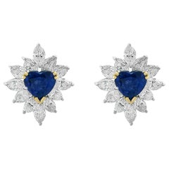 3 Carat Heart Shape Sapphire and 3.5 Carat Diamond Stud Earring 18 Karat Gold