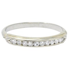 Sparkling .20 CTW Diamond and 14 Karat White Wedding Band Stackable Ring
