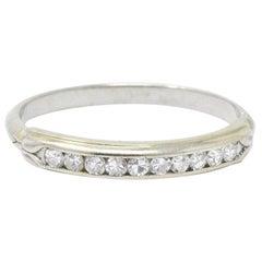 Sparkling .20 CTW Diamond and 14 Karat White Wedding Band Stackable Ring