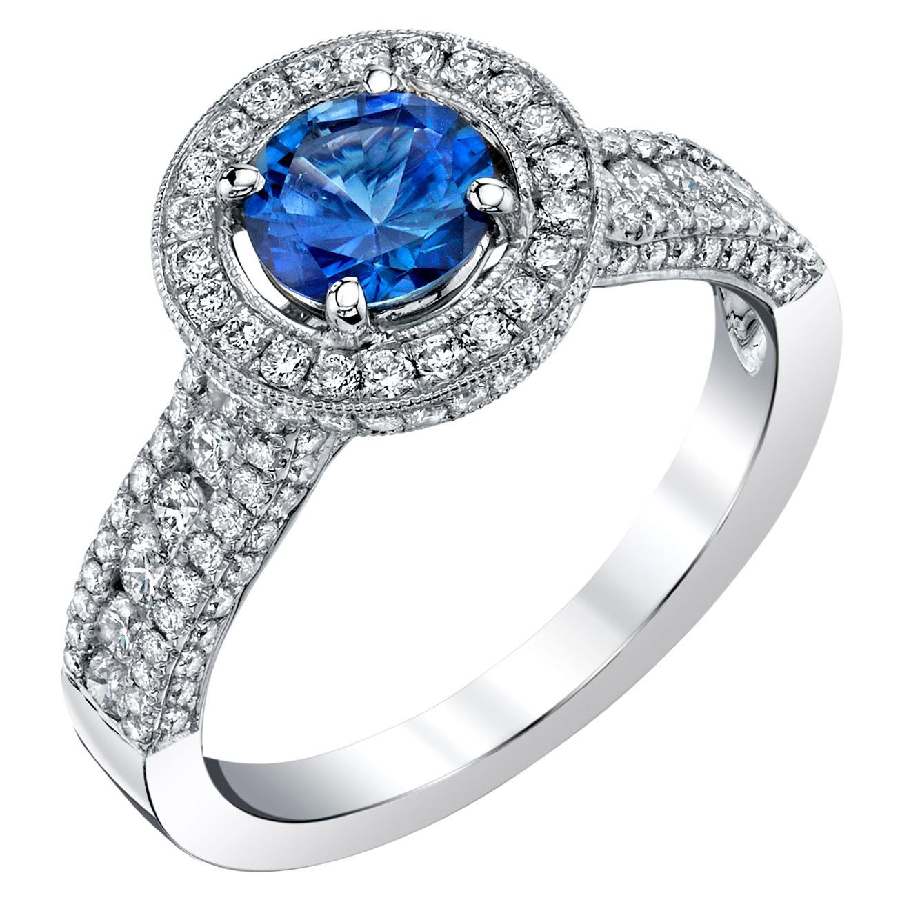Cornflower Blue Sapphire, Pave Diamond Halo 18k White Gold Engagement Band Ring