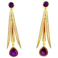 8 Carat Intense Amethyst 1.15 Carat Diamond Drop Earrings 18 Karat Yellow Gold