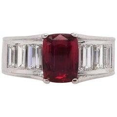 2.53 Carat Cushion Cut Ruby and Diamond Ring