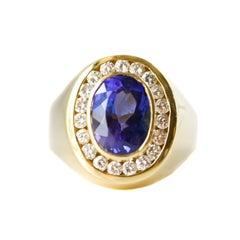 4 Carat Tanzanite and 1 Carat Diamond 18 Karat Yellow Gold Ring