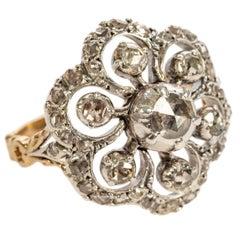 Dutch Rose Diamond Floral Ring, 19th Century