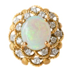 Opal and Diamond Yellow Gold Floral Ring