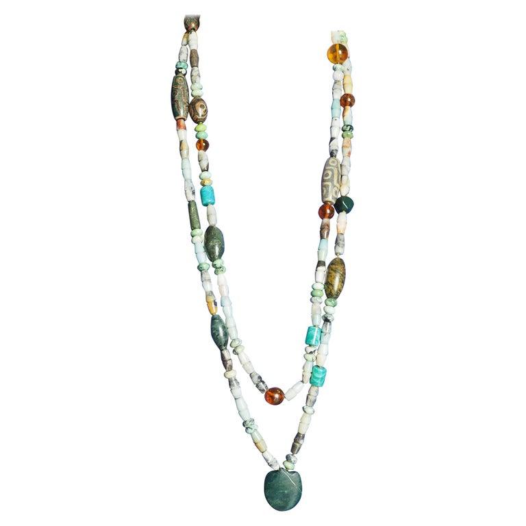 Amazonite Jasper Amber Dzi Long Double Long Necklace For Sale