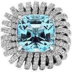 Paolo Costagli 18 Karat White Gold 8.67 Carat Aquamarine and Diamond 'Coil' Ring