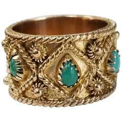 """14 Karat """"Edwardian"""" Style Turquoise Eternity Ring"""