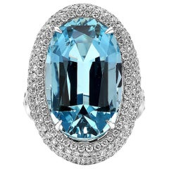 Paolo Costagli 18 Karat White Gold 11.67 Carat Aquamarine and Diamond Ring