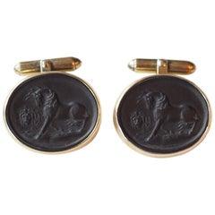 Antiques Victorian Engrave Giaietto Cufflinks 9 Karat Gold