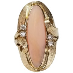 14 Karat Coral and Diamond Ring