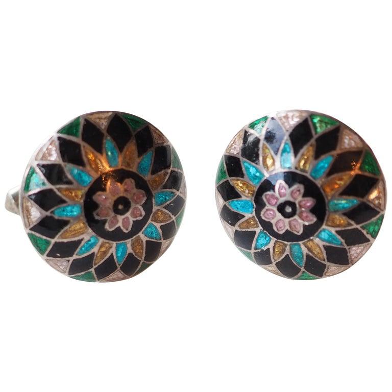 Antiques Indian Enamel Buttons Cufflinks 10 Karat Gold For Sale