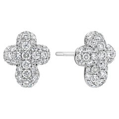 Pave Diamond Cross Stud Earrings