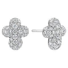 Roman Malakov, Pave Diamond Cross Stud Earrings