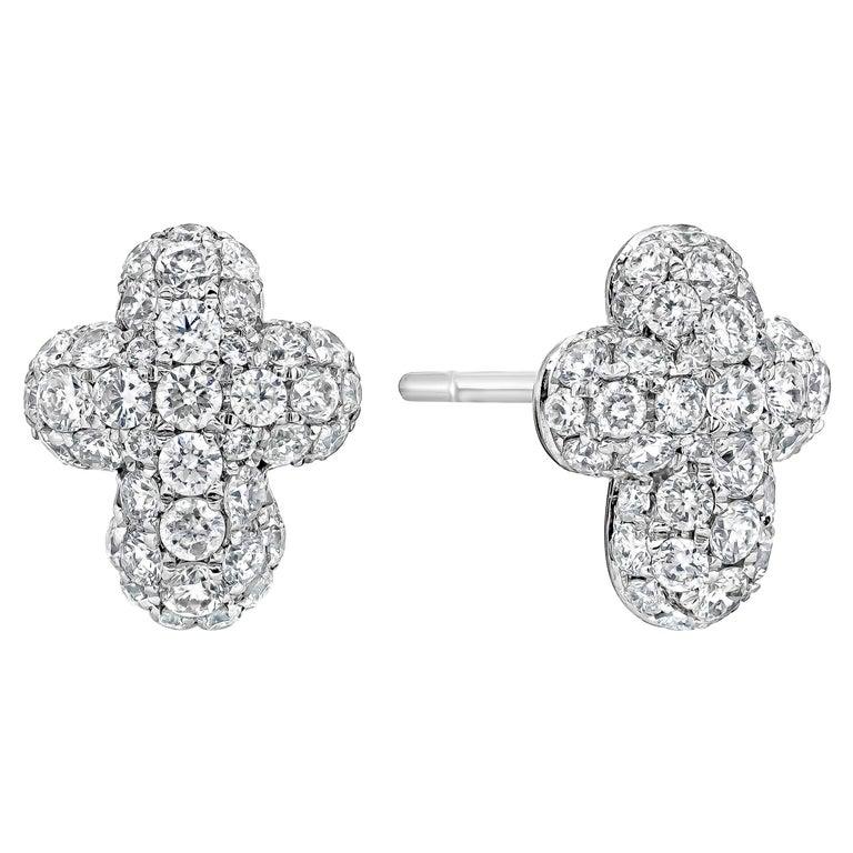 Pave Diamond Cross Stud Earrings For Sale