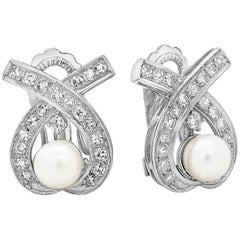 Pearl and Diamond Open-Work Omega Clip Earrings