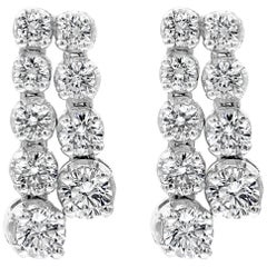 Double-Row Round Diamond Drop Earrings