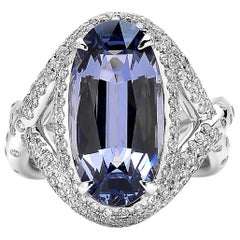 Paolo Costagli 18 Karat White Gold 7.09 Carat Long Spinel and Diamond Ring