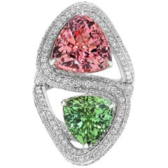 Paolo Costagli 18 Karat White Gold Pink and Green Tourmaline Ring with Diamonds
