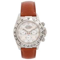 Rolex Cosmograph Daytona Men's White Gold Watch Mother of Peral Dial 16519