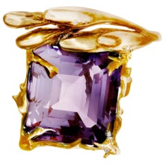 18 Karat Rose Gold Ring by Artist with Amethyst and Diamonds