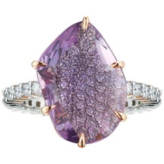 Paolo Costagli 18 Karat Gold Free Shape Pink Sapphire Ring with Diamonds