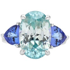 18 Karat White Gold 12.48 Carat Zircon and 2.31 Carat Tanzanite Ring