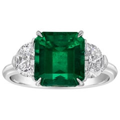 2.77 Carat Colombian Emerald and Diamond Three-Stone Engagement Ring