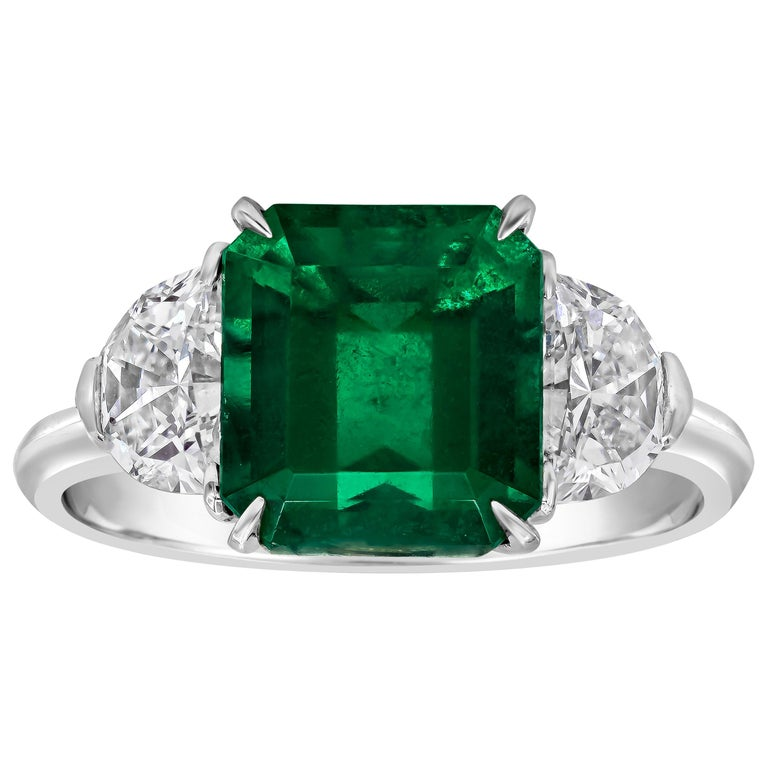 2.77 Carat Colombian Emerald and Diamond Three-Stone Engagement Ring For Sale