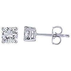 GIA zertifizierte Platin Kissenschliff Diamanten Ohrstecker 0,50 Karat Gesamt