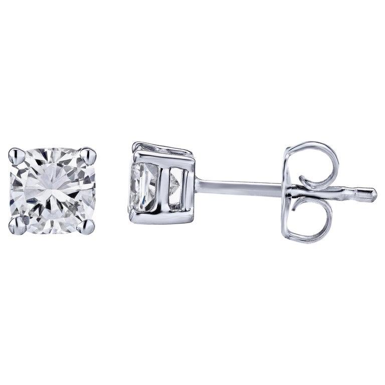 GIA Certified Platinum Cushion Cut Diamond Studs 0.50 Carat Total For Sale