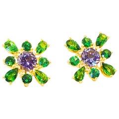 Lavender Spinel Green Tsavorite Garnet Floret Cluster Earrings 18 Karat Gold