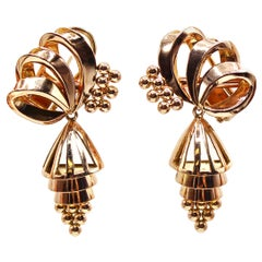 Retro 18 Karat Rose Gold Dangling Earrings