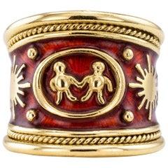 Elizabeth Gage Enamel Gold Gemini Cigar Band Ring