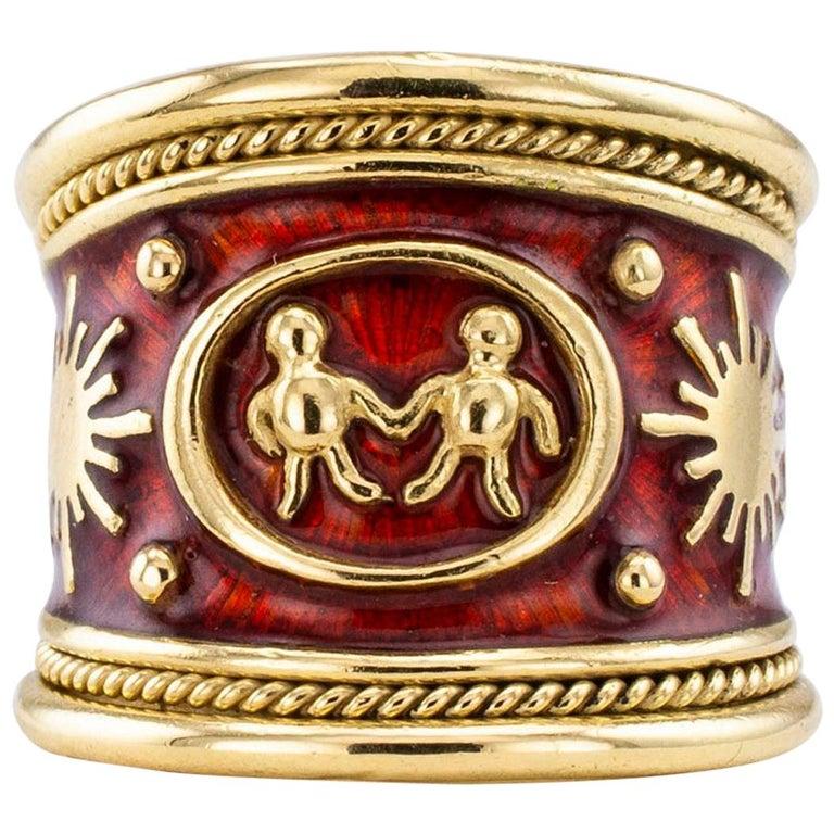 Elizabeth Gage Enamel Gold Gemini Cigar Band Ring For Sale