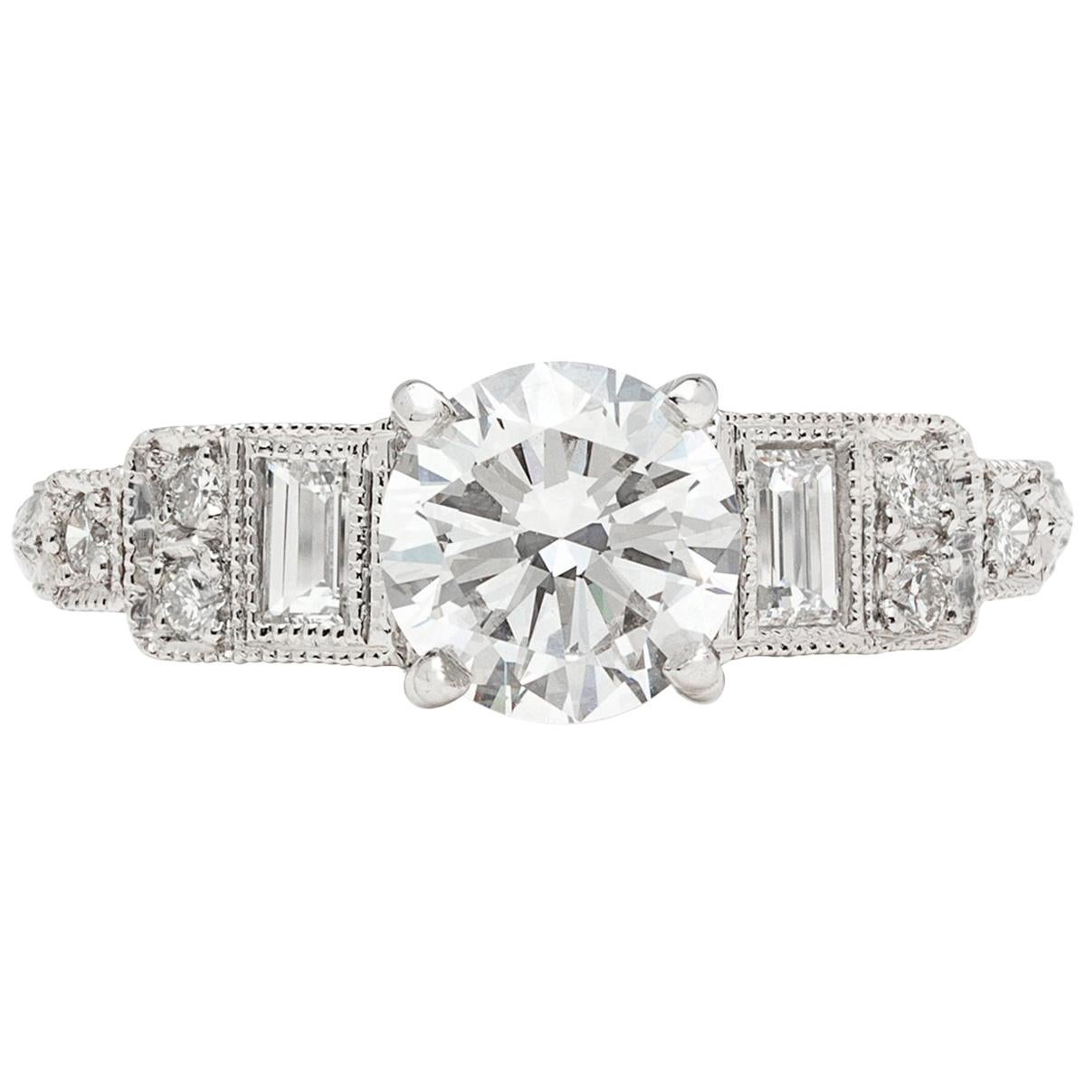 GIA 0.95 Carat E/VS2 Diamond Platinum Engagement Ring