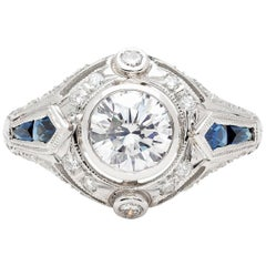 GIA 1.02 Carat D/VS1 Diamond and Sapphire Engagement Ring