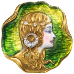 19th Century 18 Karat Yellow Gold Enamel Art Nouveau Lady Pin Pendant Brooch