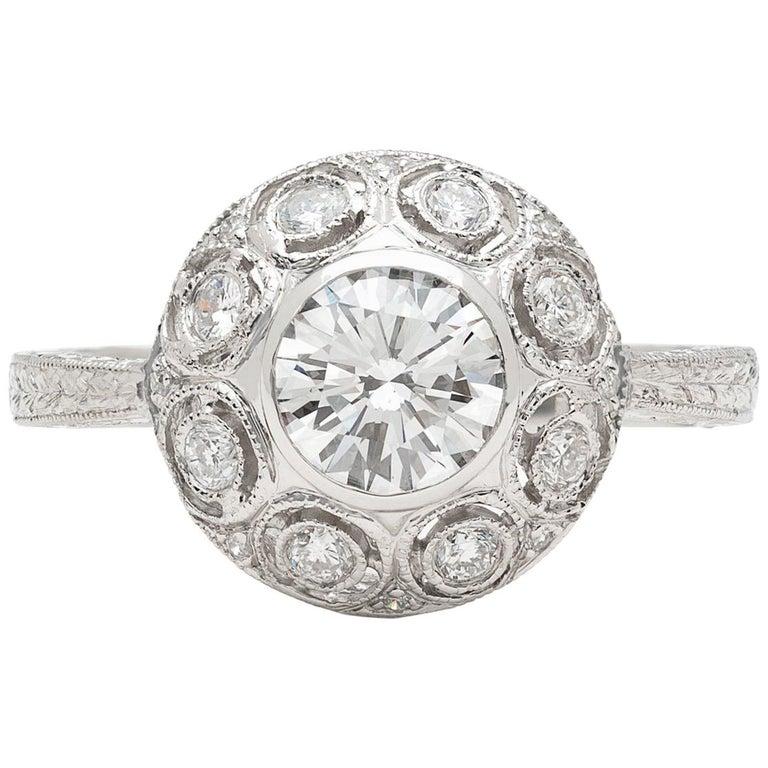 GIA 0.82 Carat F/VS2 Diamond Platinum Engagement Ring For Sale