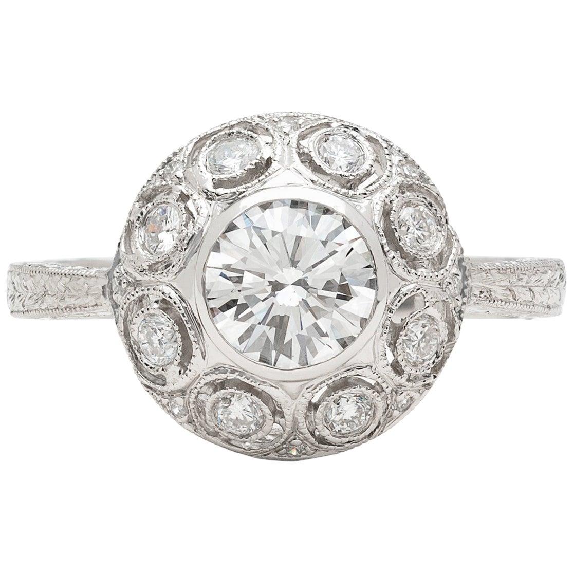 GIA 0.82 Carat F/VS2 Diamond Platinum Engagement Ring