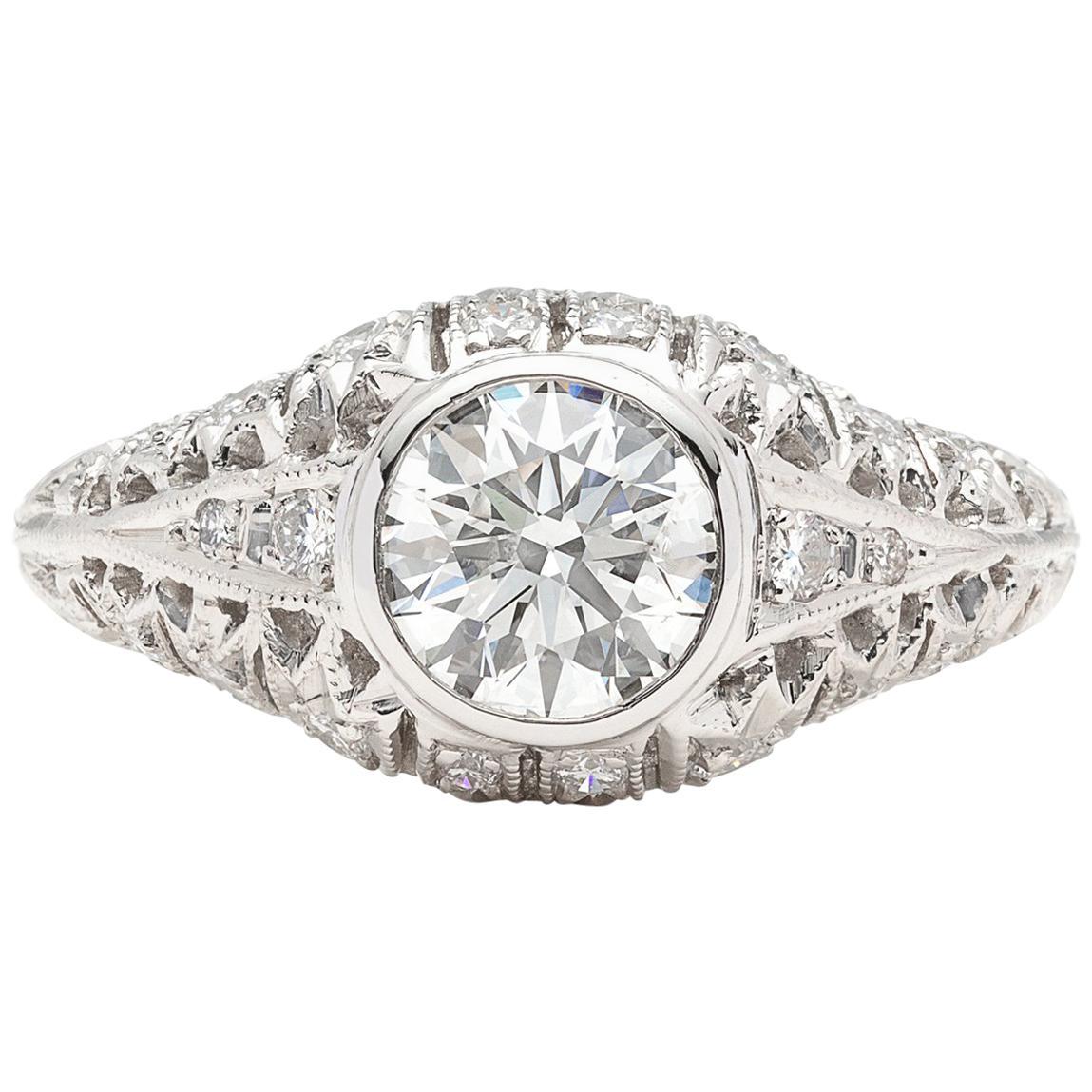 GIA 1.13 carat G/SI2 Diamond Platinum Engagement Ring