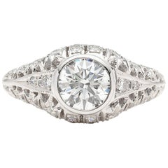 GIA 1.13 carat G/SI2 Diamond Platinum Engagement Ring
