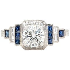 GIA J/SI1 1.00 Carat Diamond and Sapphire Engagement Ring