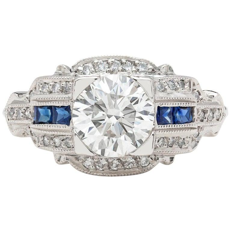 GIA 1.26 carat G/VVS2 Diamond & Sapphire Engagement Ring For Sale
