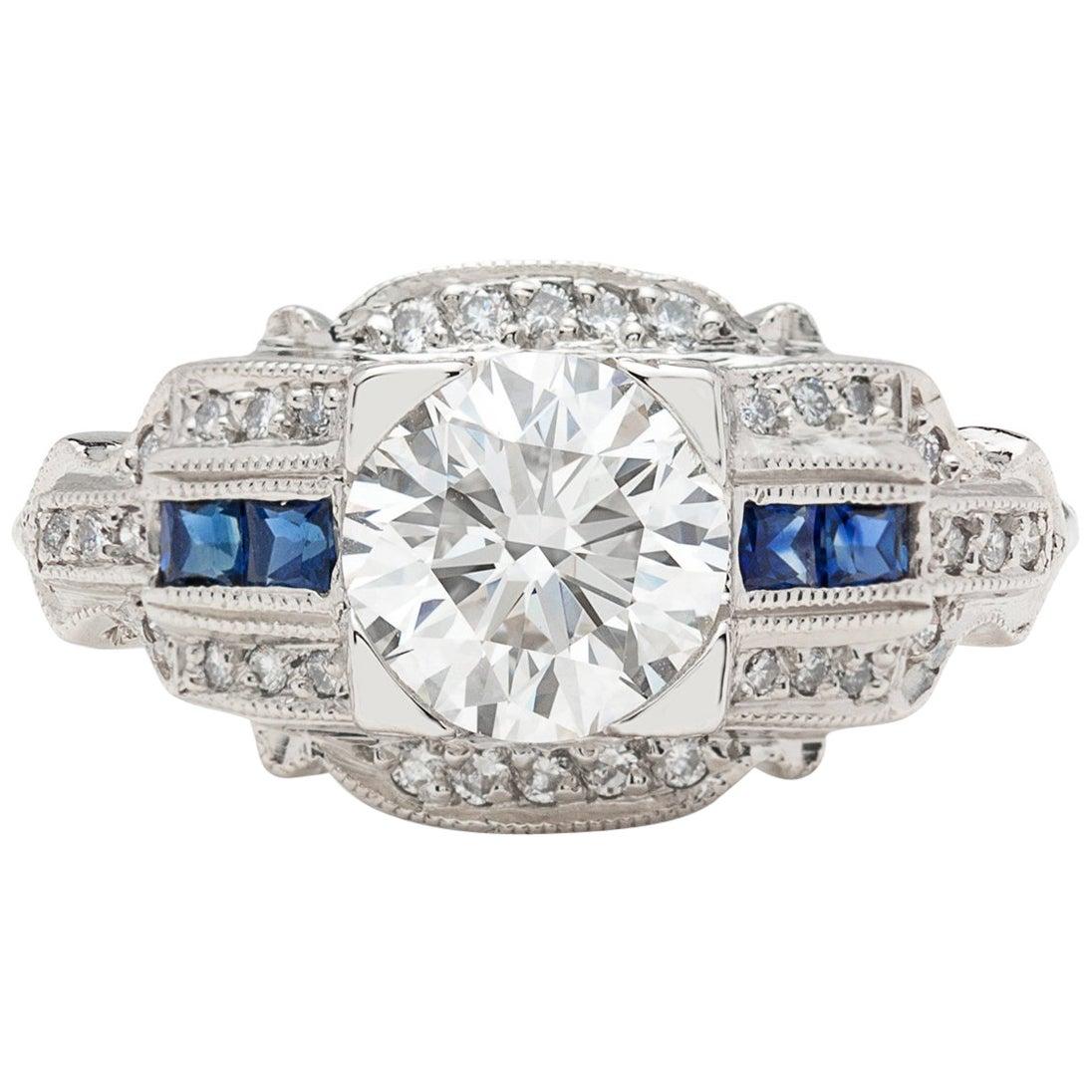 GIA 1.26 carat G/VVS2 Diamond & Sapphire Engagement Ring