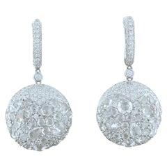 Diamond Gold Cluster Drop Earrings