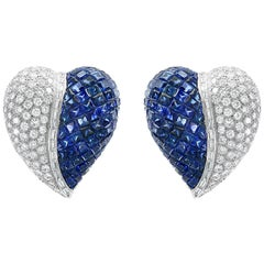 Invisible Mystery Set Sapphire and Diamond Cocktail Earring 18 Karat Gold
