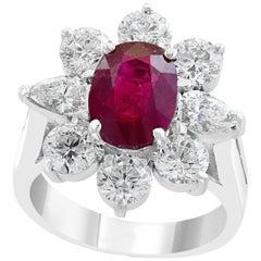 2.2 Carat Certified  Ruby and 2.0 Carat Diamond  Cocktail 18 K Gold Ring Estate